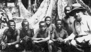 Father Schebesta with a Pygmies group